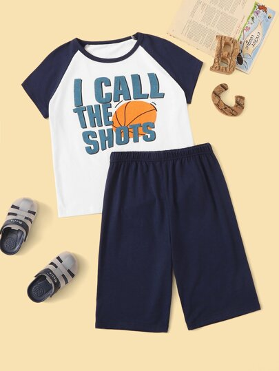 Boys Basketball & Letter Print Pajama Set