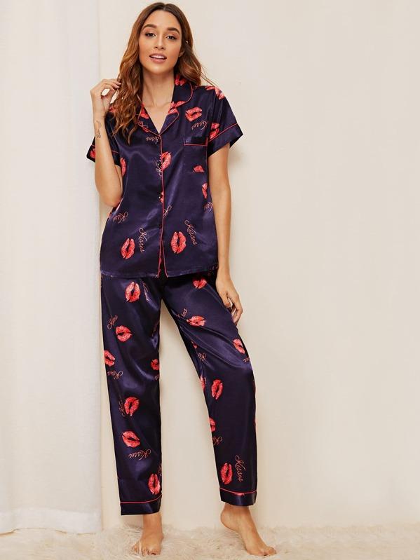 ff42523d8991f Lip & Letter Print Satin Pyjama Set | SHEIN UK