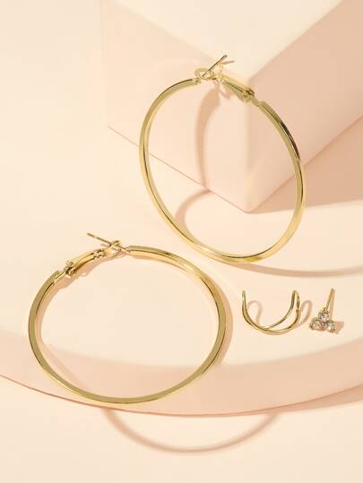 Rhinestone Engraved Stud & Hoop Earrings 4pcs