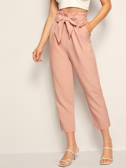 Solid Self Tie Paperbag Waist Pants