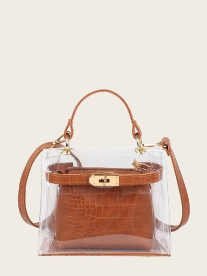 Clear Bag With Croc Embossed Inner Pouch
