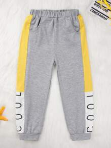 Toddler Boys Letter Printed Contrast Panel Sweatpants