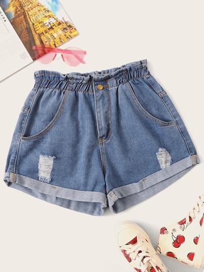 16cae9ebfba49e Jeans Shorts mit Rissen, Papiertasche Taille und Papiertasche Taille