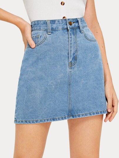 Solid Button Fly Pencil Denim Skirt