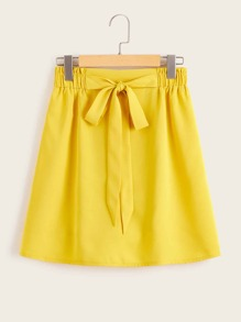 Solid Tie Front Paperbag Waist Skirt