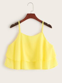 Solid Tiered Layer Peplum Cami Top