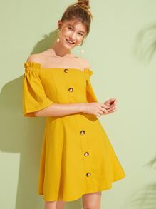 Button Front Solid Off Shoulder Dress