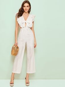 Eyelet Embroidery Tie Front Ruffle Cuff Jumpsuit