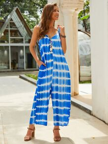 Tie Dye Wide Leg Pocket Side Cami Jumpsuit
