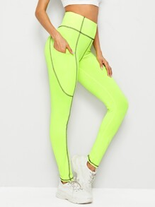 Neon Lime Whip Stitch Leggings