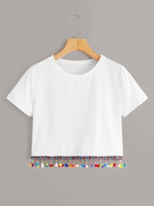 Colorful Pom Pom Hem Crop Tee