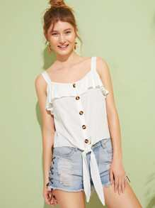 Ruffle Trim Button Front Knot Hem Cami Top
