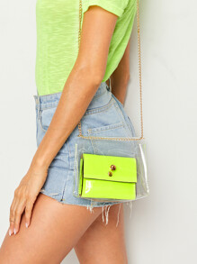 Chain Strap Clear Crossbody Bag With Inner Bag