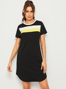 Contrast Panel Curved Hem T-shirt Dress
