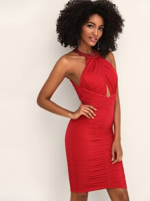 Ruched Peekaboo Backless Halter Dress