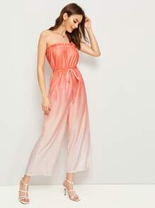 Drawstring Waist Ombre Tube Jumpsuit
