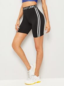 Letter Print Side Striped Cycling Shorts