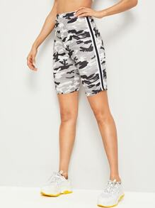 Side Striped Camo Cycling Shorts