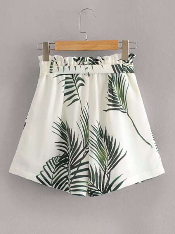 d36e23594036 Tropical Print Paper Bag Belted Shorts | SHEIN
