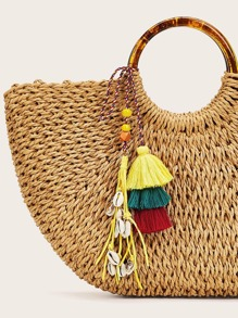 Shell Decor Layered Tassel Bag Accessory