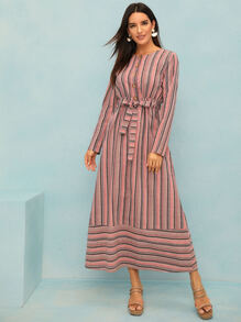 Colorful Striped Button Front Belted Dress