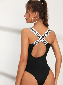 Criss Cross Tape Contrast Backless Bodysuit