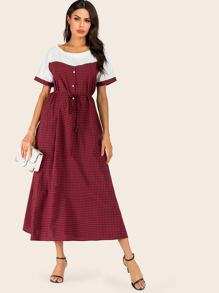 Gingham Contrast Colorblock Drawstring Dress