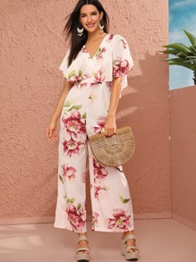 Floral Print Ruffle Trim Low V Back Jumpsuit