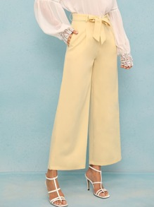 Solid Plicated Knot Front Wide Leg Pants