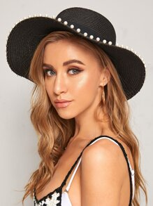Faux Pearl Decor Floppy Hat