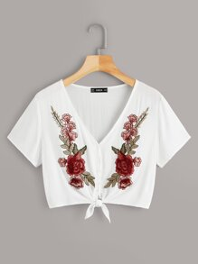 Embroidered Appliques Knotted Blouse