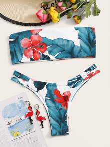 Floral Bandeau With High Cut Bikini Set