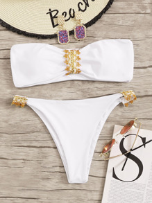 Bandeau Top With Low Rise Bikini Set