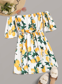 Off Shoulder Lemon Print Dress