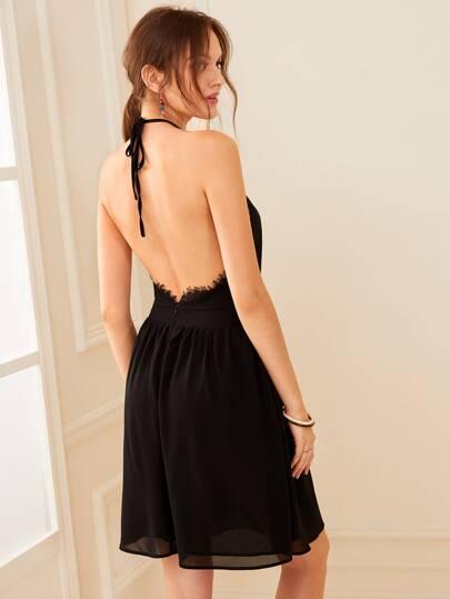80f1bfa320c6 Lace Insert Backless Halterneck Dress