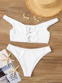 Plus Cut Out Top With High Cut Bikini Set