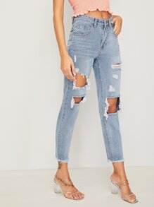 Ripped Raw Hem Cropped Mom Jeans