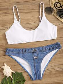 Button Front Top With Denim Print Bikini Set