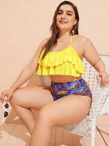 Plus Tiered Layer Halter Top With Tropical Bikini Set