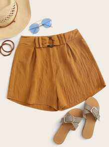 Solid Ring Detail Fold Pleat Shorts