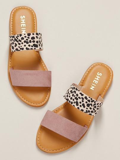 3ed64ef0bc9b8 Blush Leopard Two Band Flat Slide Sandals