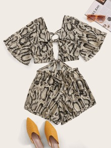 Plus Knot Snakeskin Print Top With Shorts