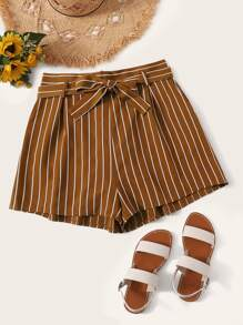 Plus Self Tie Stripe Shorts