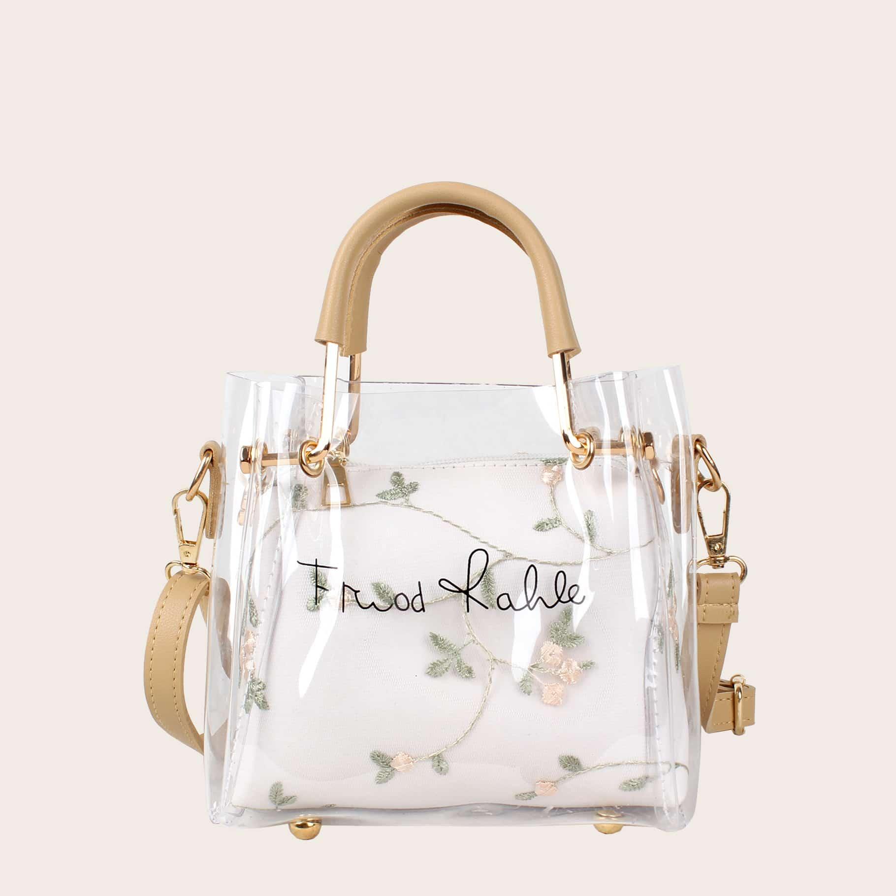Прозрачная сумка с текстовым принтом и цветочным внутренним чехлом