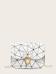 Geometric Print Push Lock Chain Bag