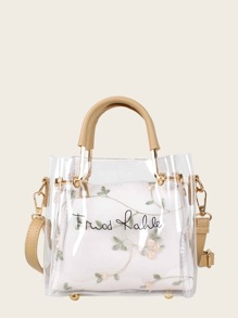 Letter Print Clear Bag With Floral Embroidered Inner Pouch