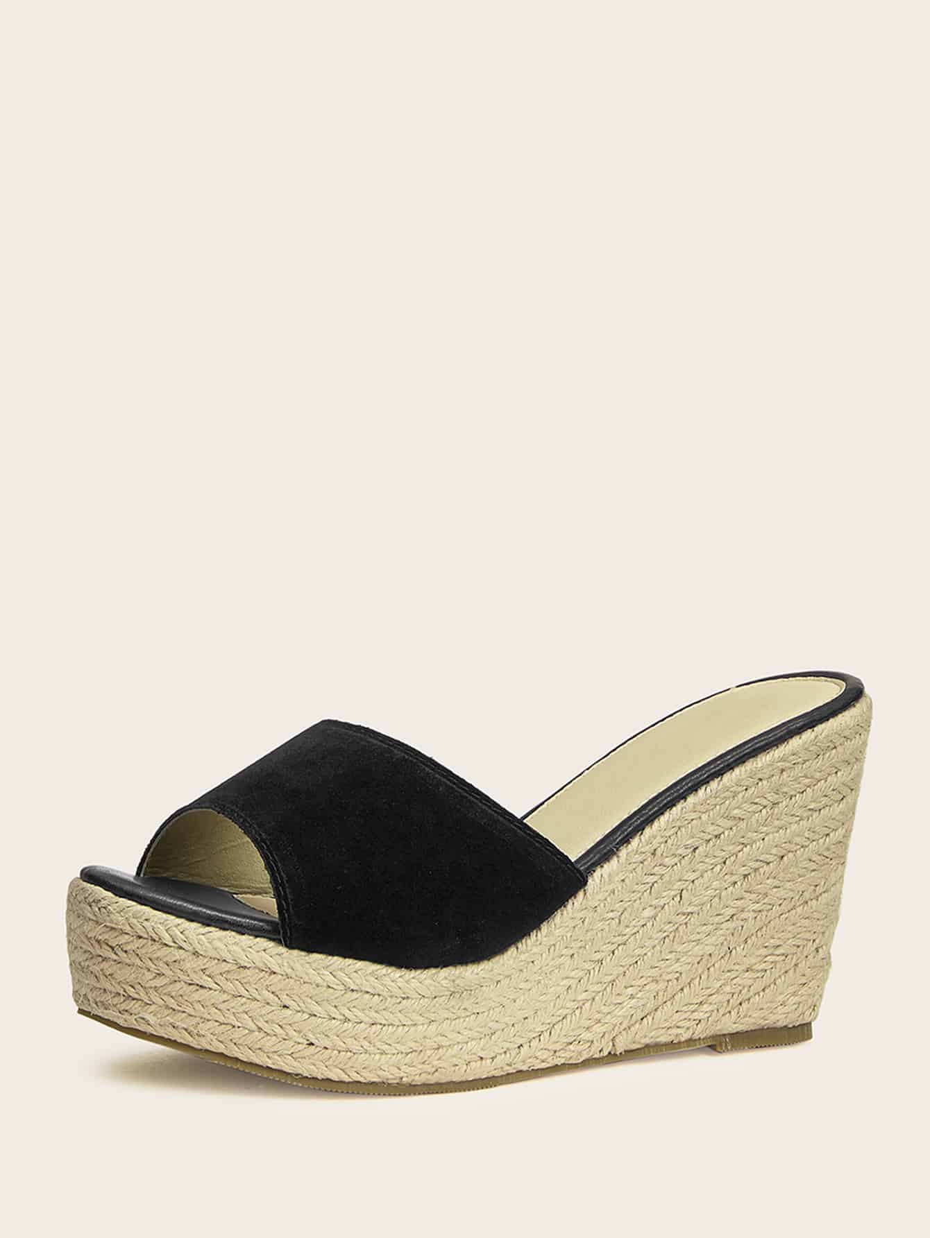 3626d6bf7a1 Peep Toe Suede Espadrille Wedges