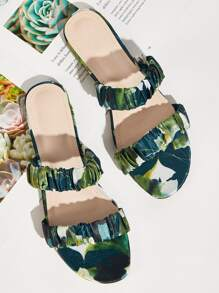 Double Strap Tropical Print Sliders