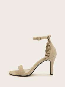Two Part Ruffle Detail Ankle Strap Heels