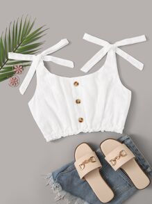 Eyelet Embroidery Knot Cami Top